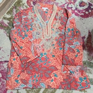 Pink and orange patterned tunic